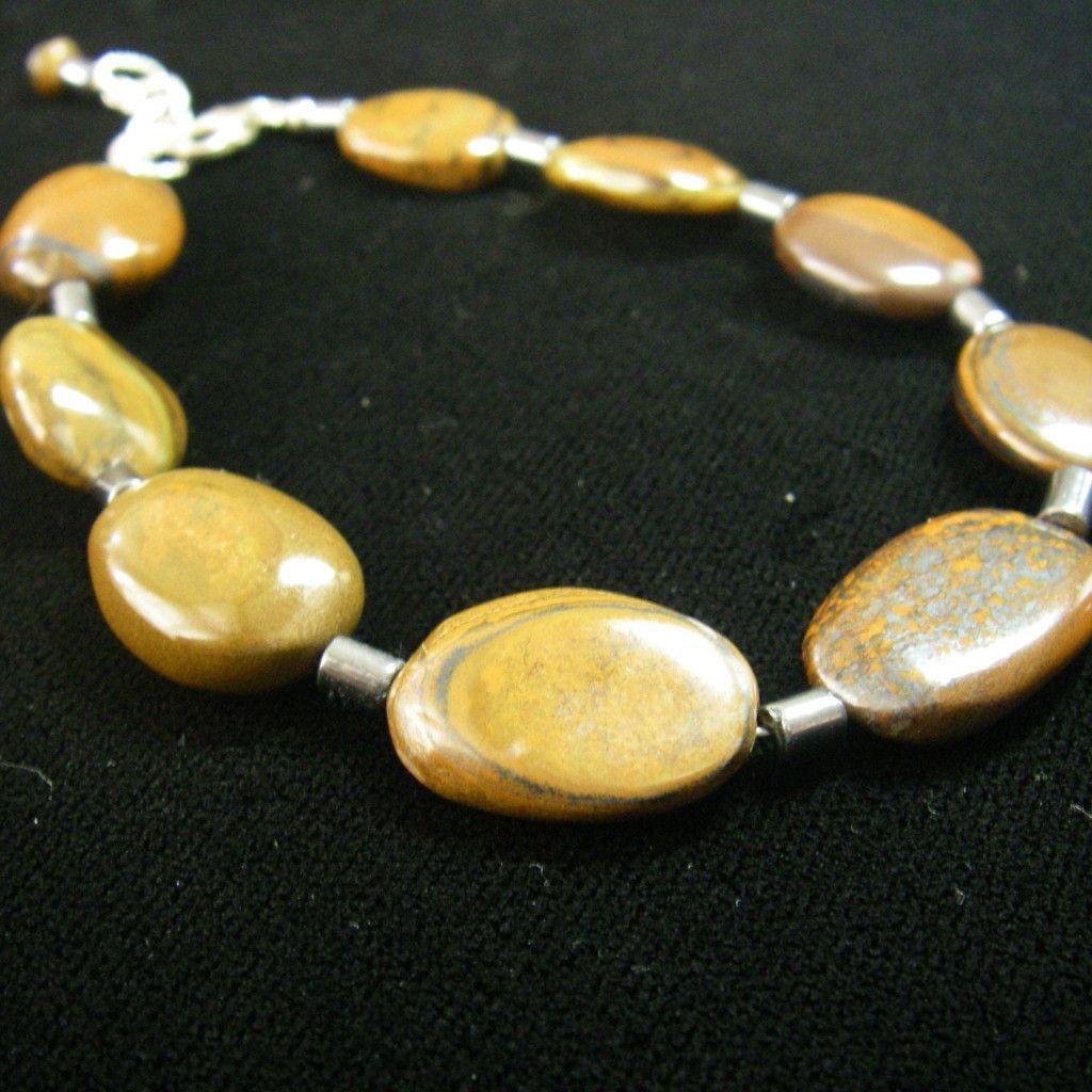 Tigers Eye, Hematite, Silver Chain Bracelet