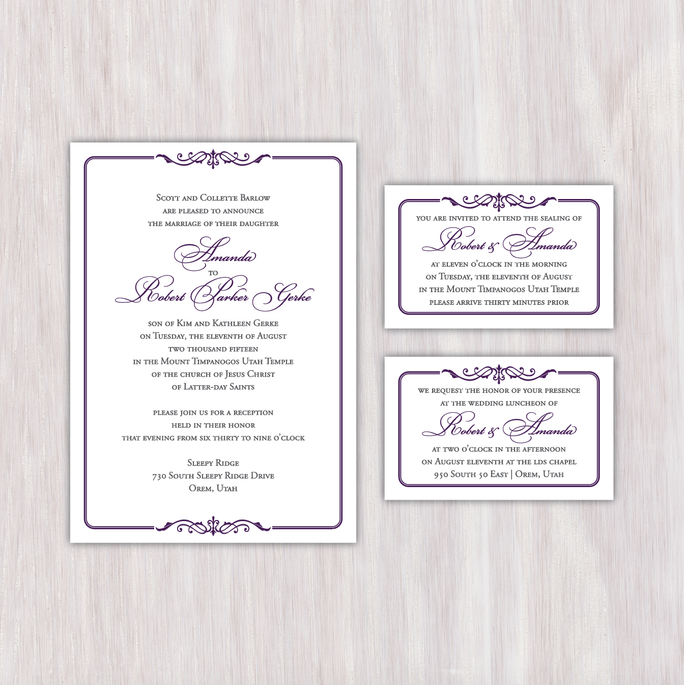 Simple, elegant, classy, two-color, gray and violet, embellished ...
