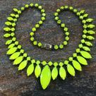 Canary Yellow Rhinestone Necklace Neon Yellow by PassingTides