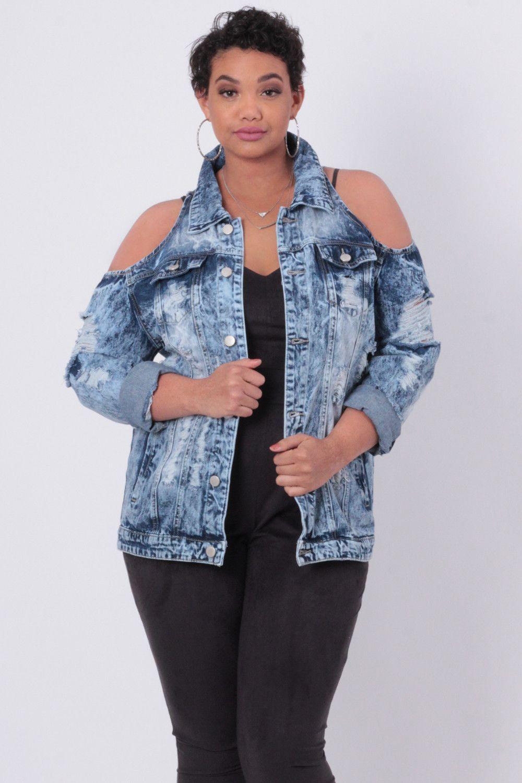 Plus Size Distressed Shoulder Cut-Out Jean Jacket - Medium Wash ...