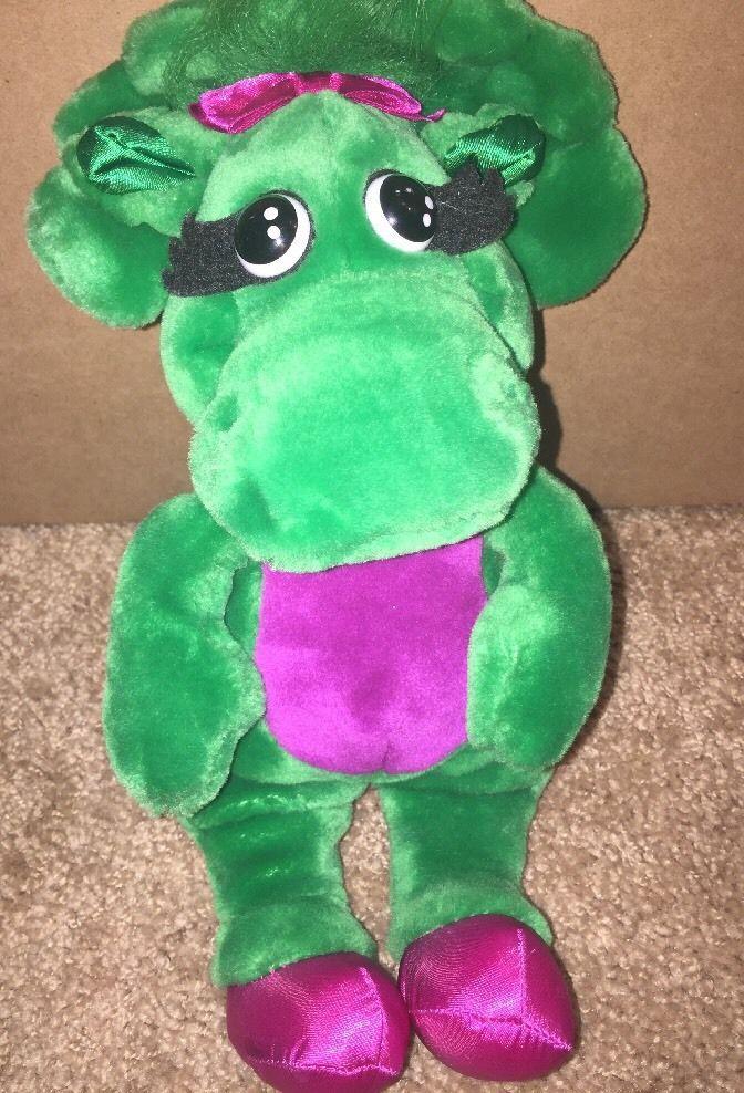 "1992 LYONS 14"" Plush BABY BOP Green BARNEY Dinosaur Vintage Stuffed Animal Toy    eBay"
