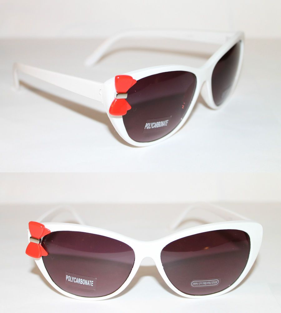10cc0af20d Cateye 50s Vintage Sunglasses retro White Frame Red Hello Kitty Bow Shades  320