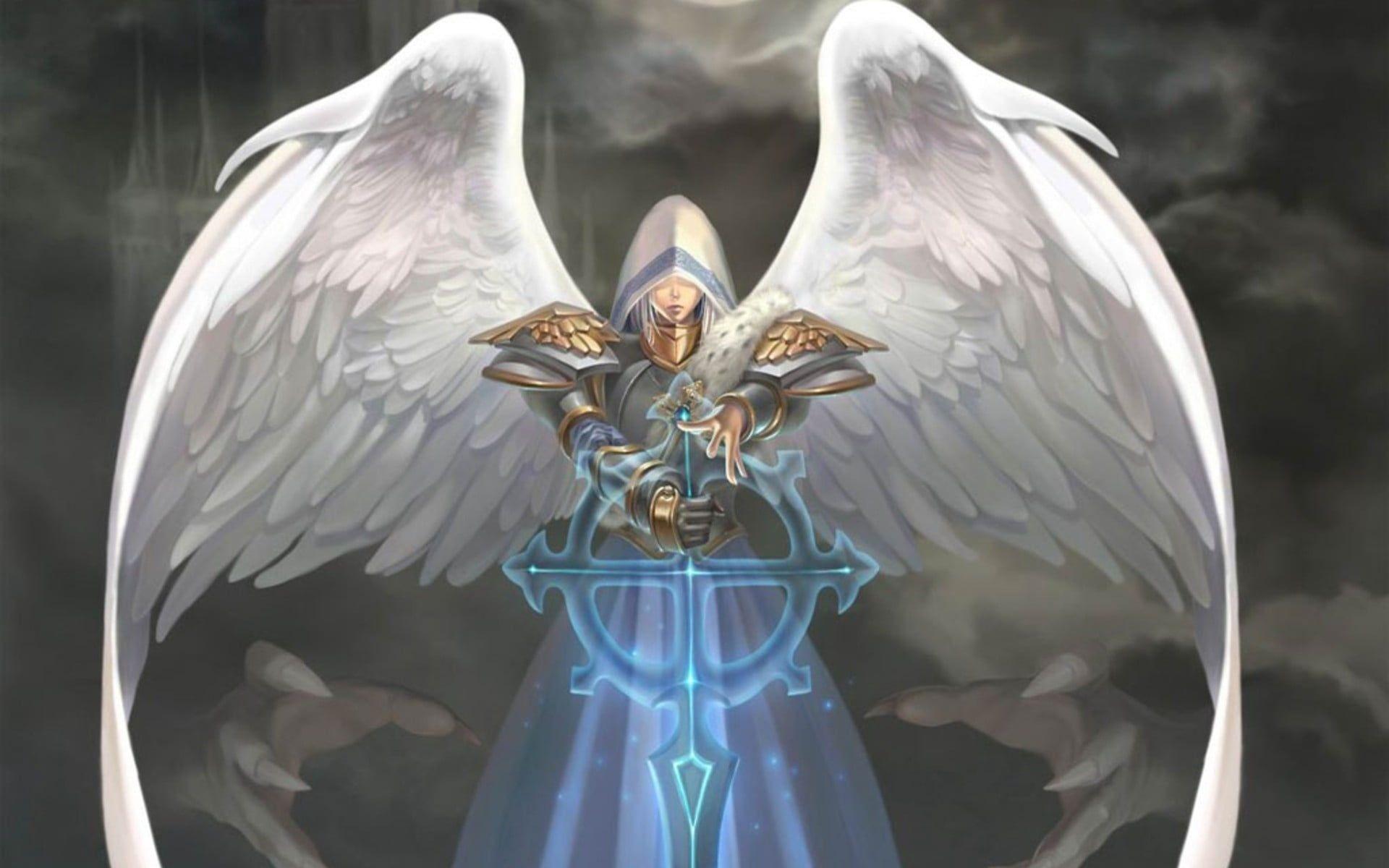 Angel Character Holding Sword Illustration Might And Magic Heroes Warrior Armor Sword Wings 1080p Wallpaper Hdwallpaper Deskto Art Archangels Magic Art