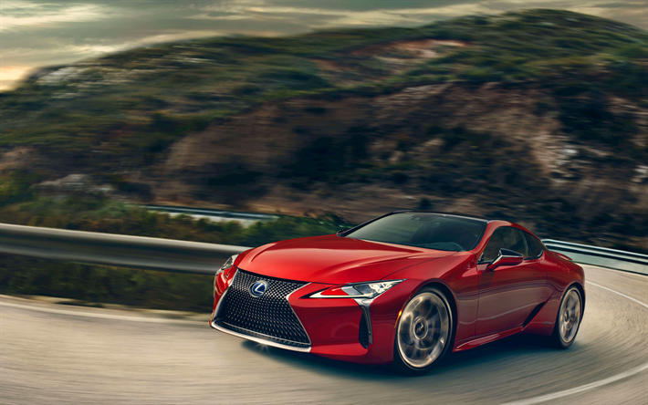 Download wallpapers Lexus LC 500, mountain road, 2017 cars