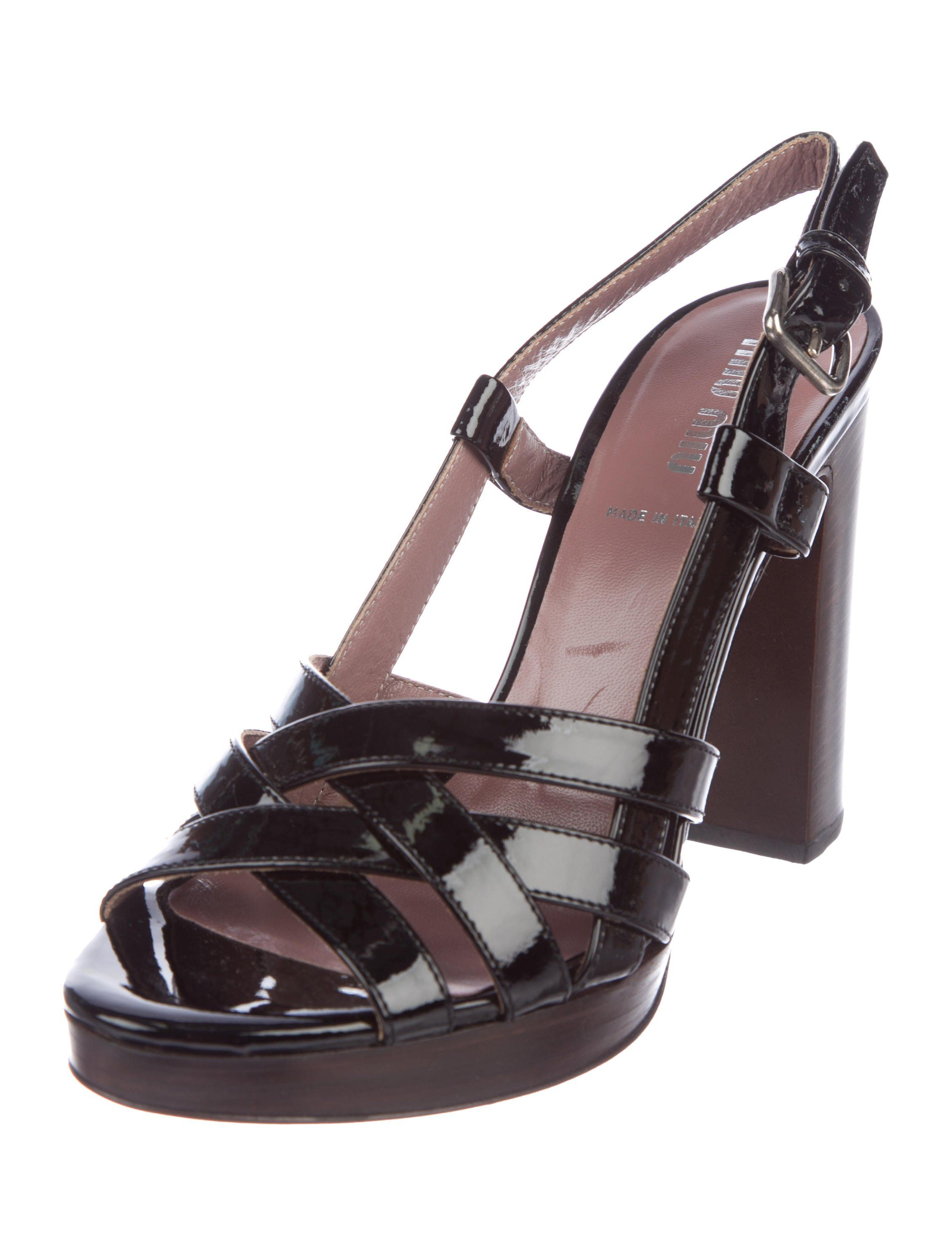 Black Patent Leather Miu Miu Platform Sandals With Tonal Stitching Stacked Heels And Buckle Closures At Side Platform Sandals Leather Platform Sandals Leather