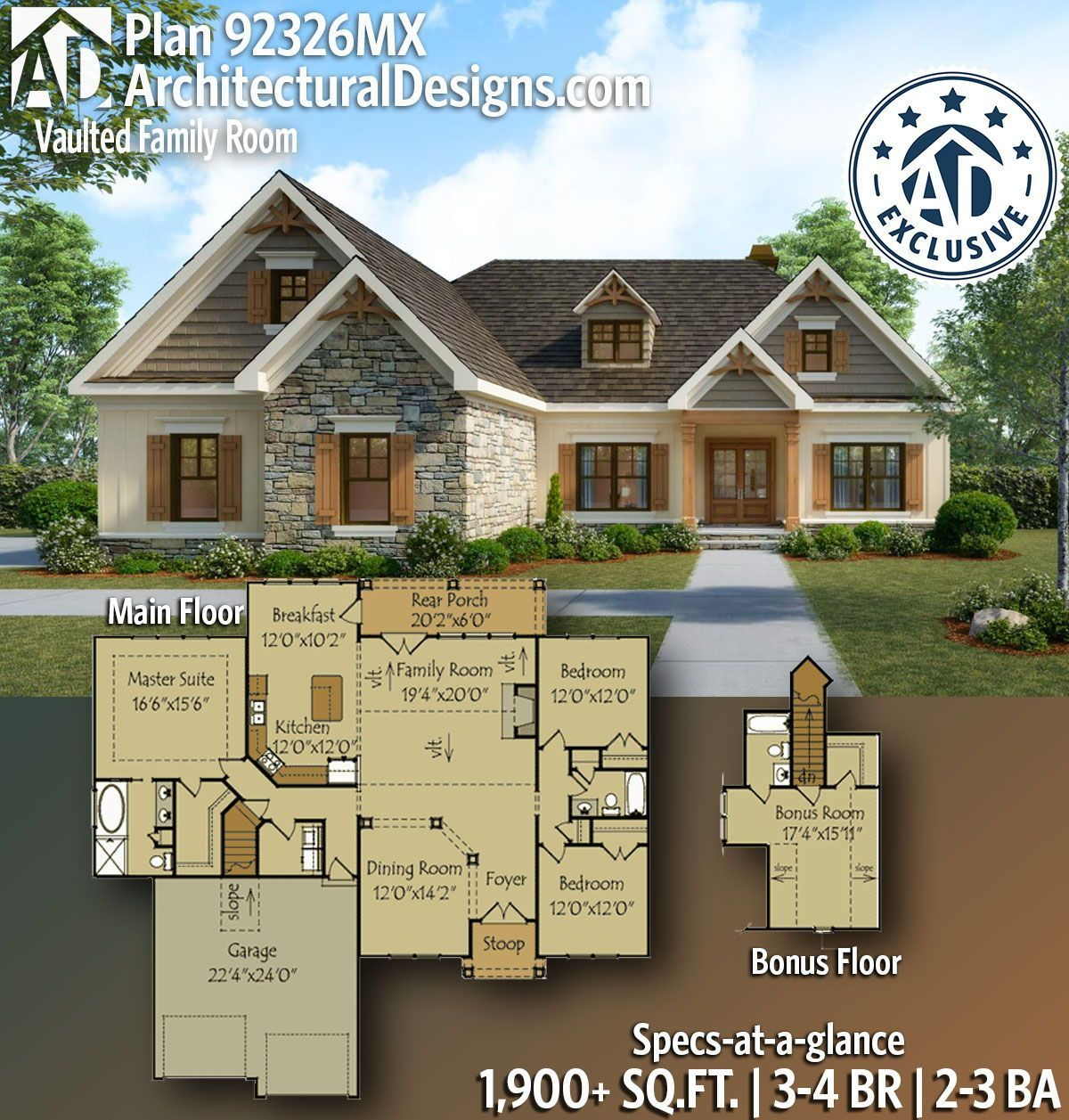 Architecturaldesigns Com Rugged Craftsman Ranch House Plan 92326mx Gives You 1 90 Farmhouse Style House Plans Craftsman Style House Plans Craftsman House Plans