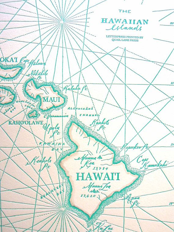 Hawaiian Islands, Letterpress printed Map | Hawaii Style | Hawaiian