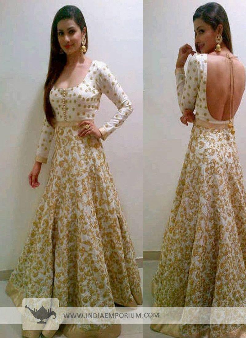 29b704bb26 Gorgeous Backless Design Off #White #Anarkali #Suit with #Tassel Black  Evening Dresses