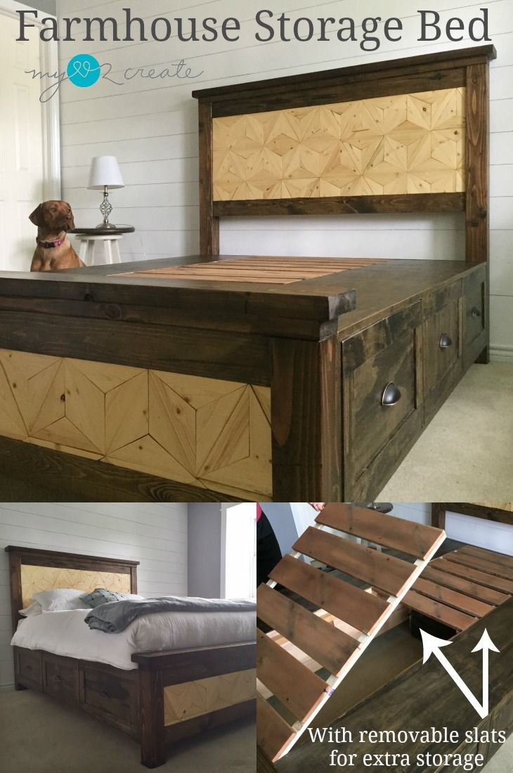 Farmhouse Storage Bed with removable slats for extra storage ...