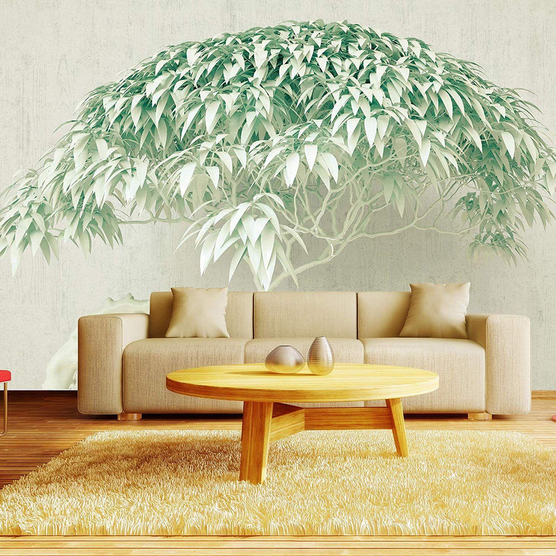 Fototapete 3D Baum Grün Betonwand Beton Wand 3D Effekt XXL
