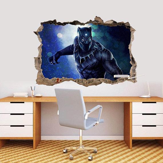 Outstanding Black Panther Wakanda Marvel Superhero Decal Smashed Broken Bralicious Painted Fabric Chair Ideas Braliciousco