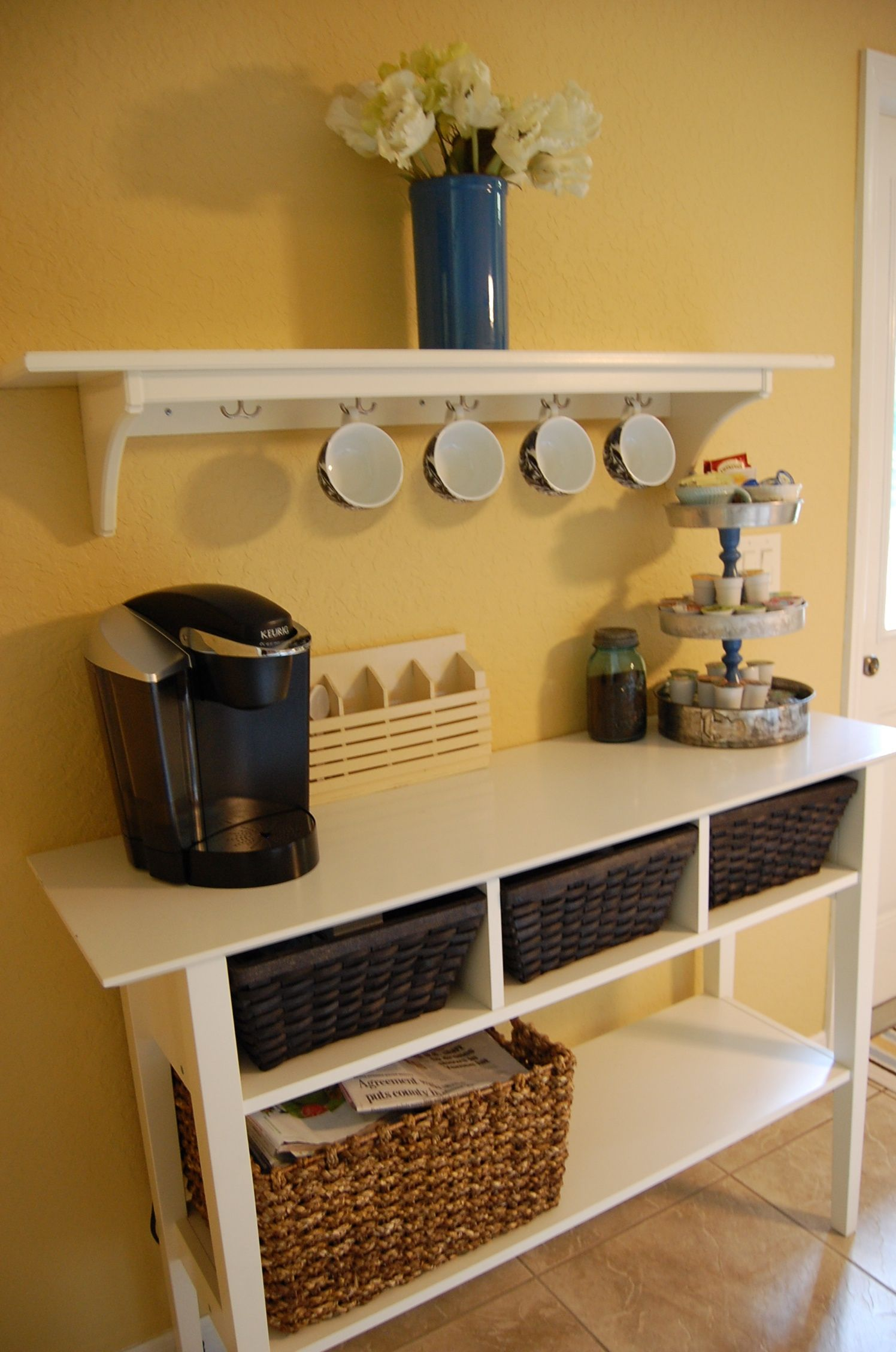 my pinterestinspired coffee bar {the shelf and table are