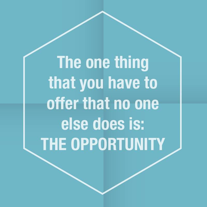 The one thing that you have to offer that no one else does is: The Opportunity
