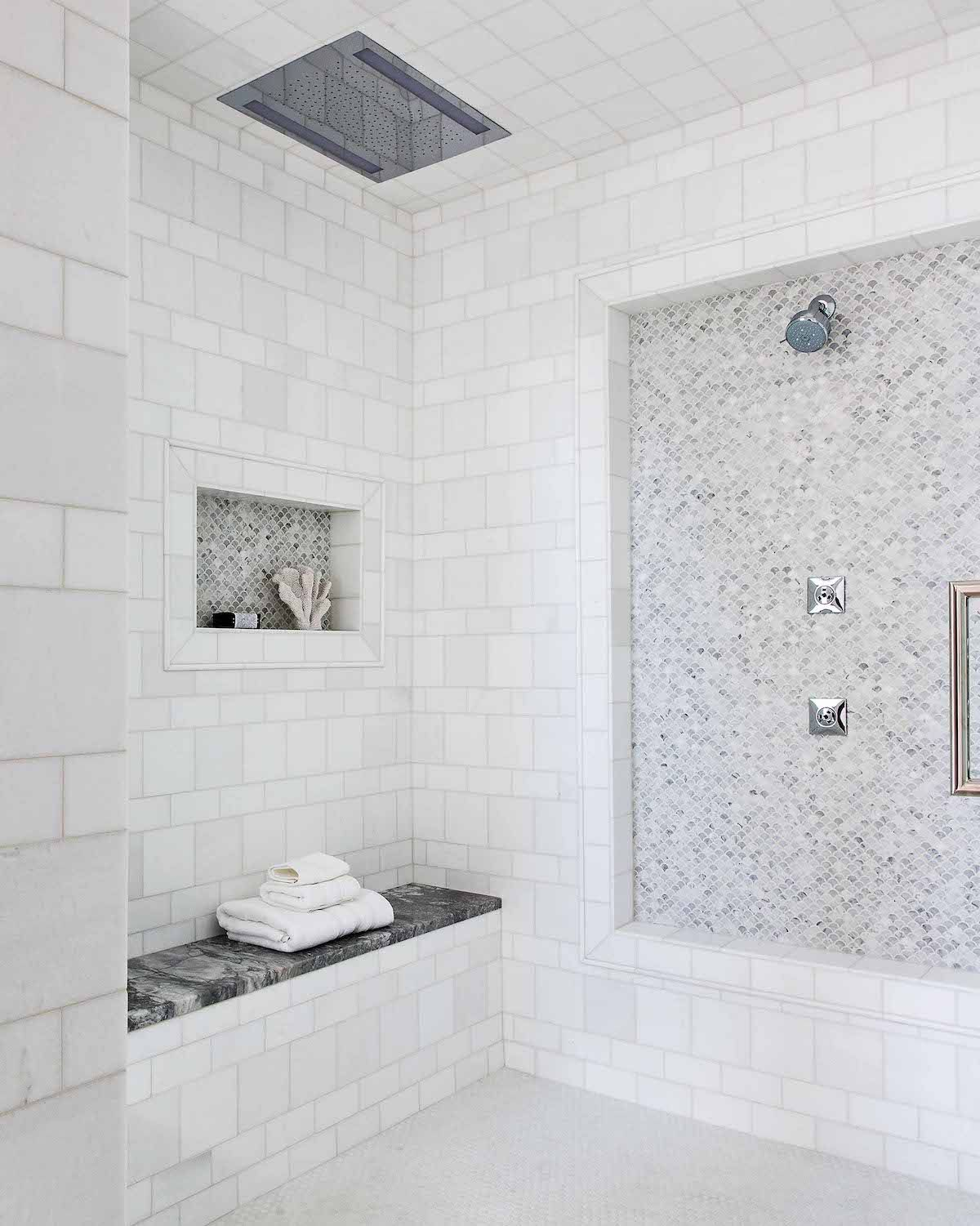 Charming Calgary Home Tour Interview With Designer Reena Sotropa White Marble Tile Bathroom White Marble Bathrooms Bathroom Tiles Images