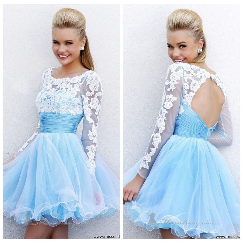 Long sleeve mini blue prom dresses evening party ball gown short