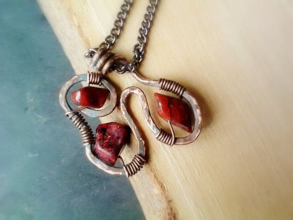 Red Jasper Copper Pendant Necklace by JennieVargasJewelry on Etsy,