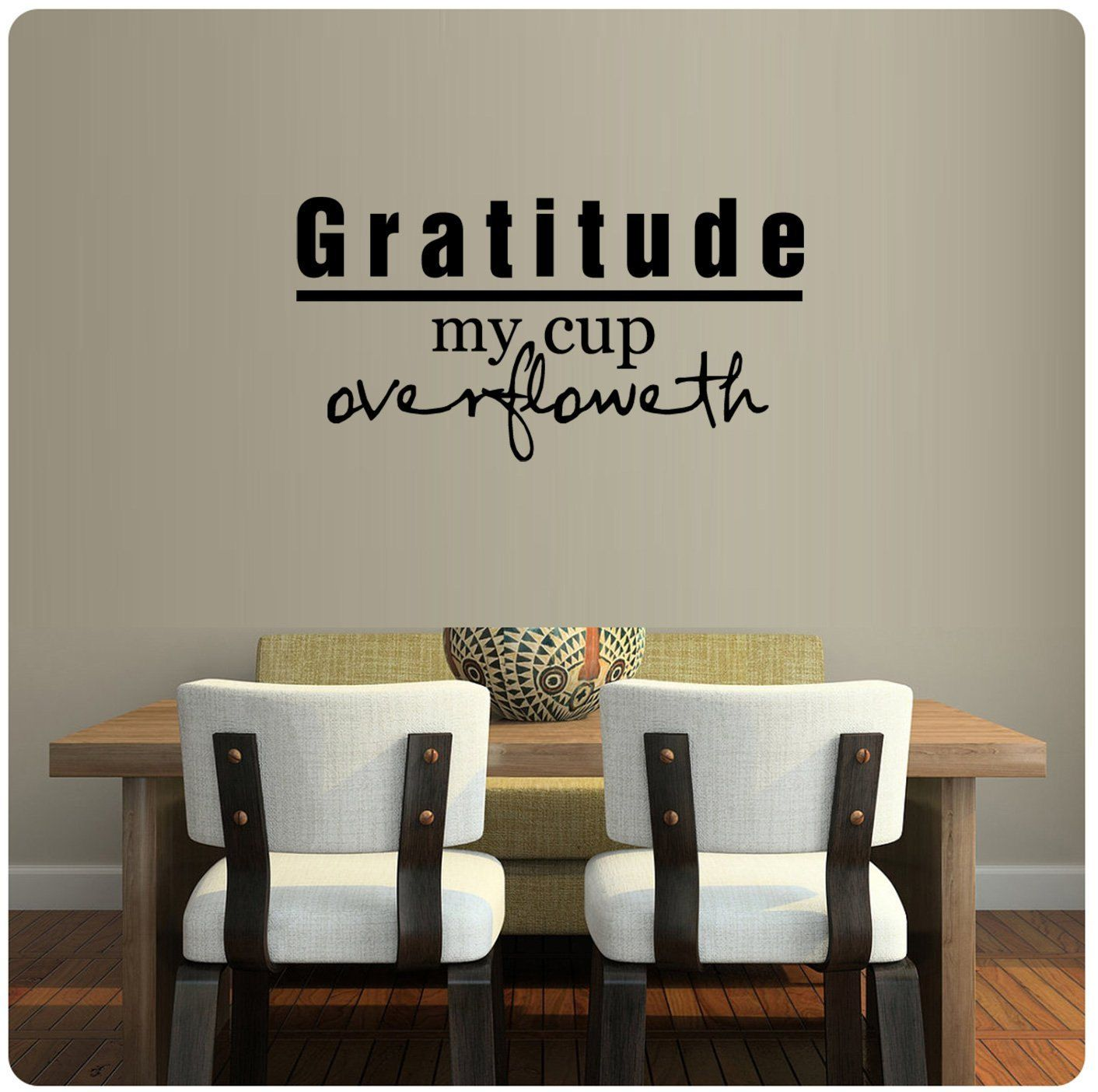 gratitude my cup over floweth by stickyforyou on etsy 10 99 kitchen wall stickers wall on kitchen decor quotes wall decals id=37985
