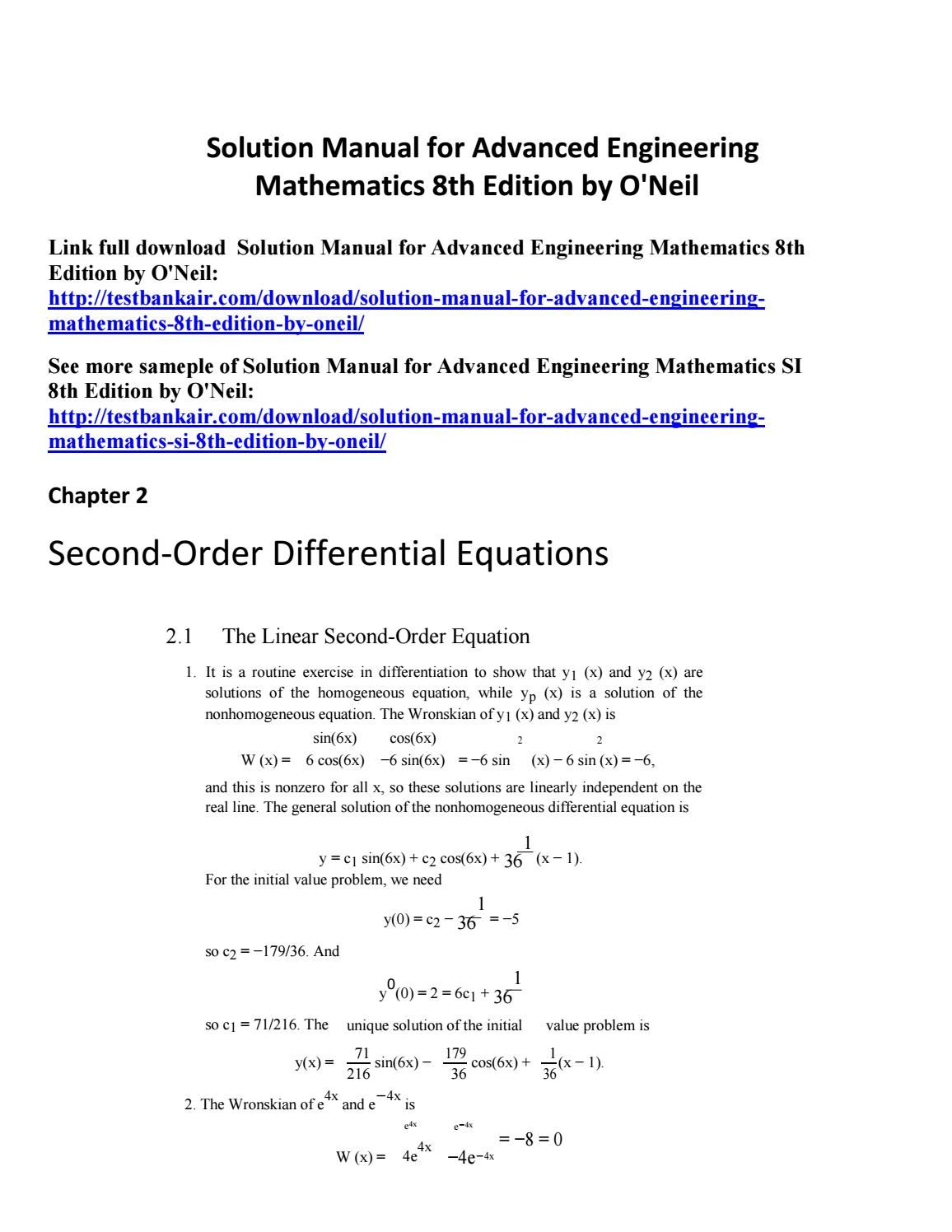 Solution manual for advanced engineering mathematics 8th edition by o'neil