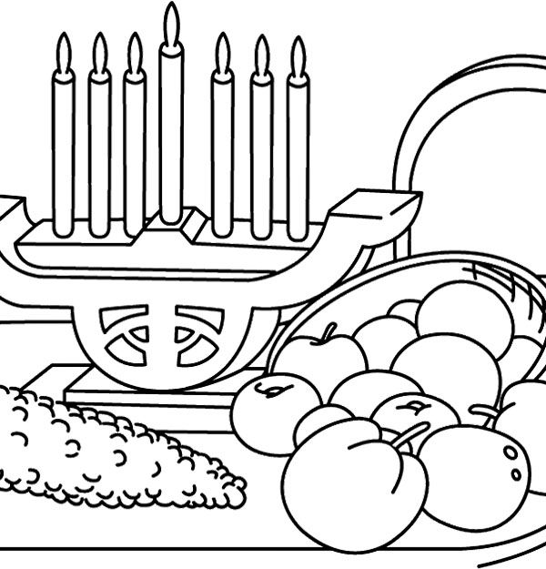 Kwanzaa Candles And Food Coloring Page Happy Kwanzaa Food