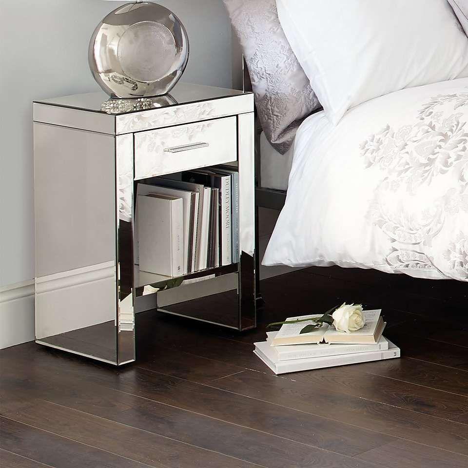 Venetian Mirrored 1 Drawer Bedside Table Dunelm Bedside Table Table Bedside Table Dunelm