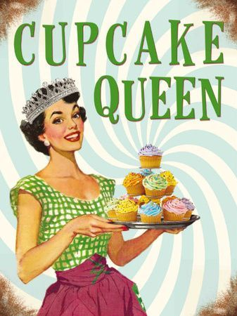 Cupcake Queen Tin Sign Cupcake Queen Tin Sign Carteles Blog ?  de Cumpleaños Creativos Vintage ?