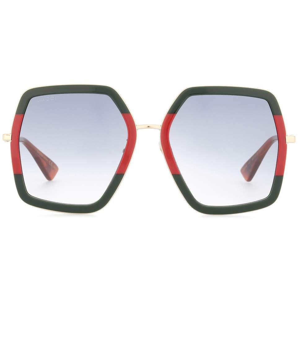 GUCCI Oversized Square-Frame Metal Sunglasses. #gucci #sunglasses ...
