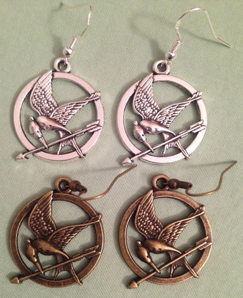 Hunger Games Mocking Jay Earrings  Pewter, Choose Silver Or Bronze Tone  #handmade