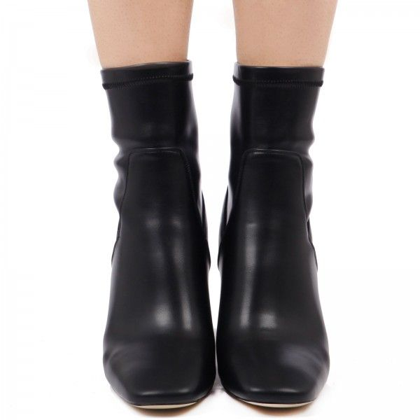Demi Mid Calf Ankle Boots In Black Faux Leather catwalk evening ...