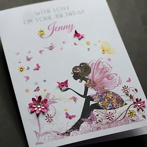 LARGE A5 Handmade Personalised FAIRY Birthday Card Sister Friend Mum Daughter