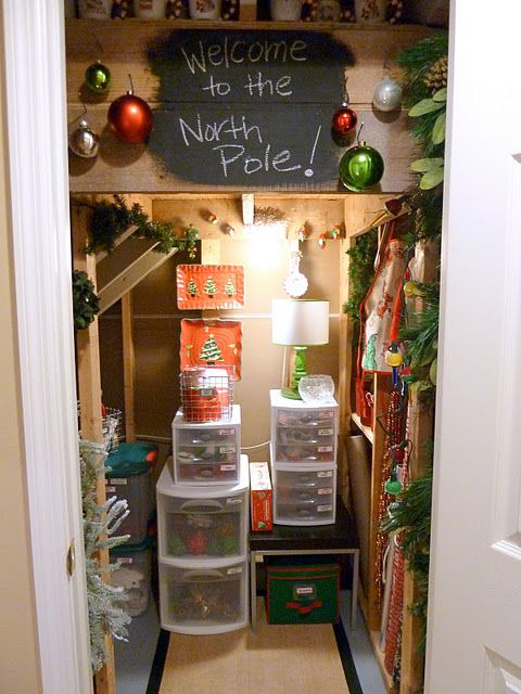 Unfinished understairs space converted to North Pole