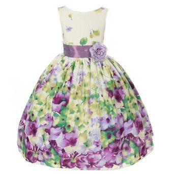 Amazon.com: Kids Dream Lavender Flower Print Sash Easter Dress Little Girls 2T-12: Kids Dream: Clothing