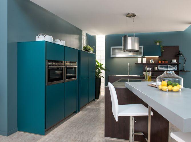 cuisine #bleue #marron #moderne #design | Déco Design ...