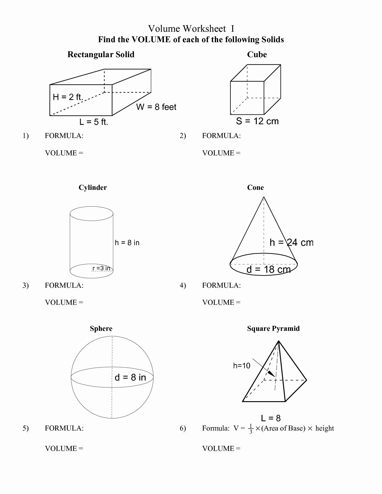 50 Surface Area Of Pyramid Worksheet In