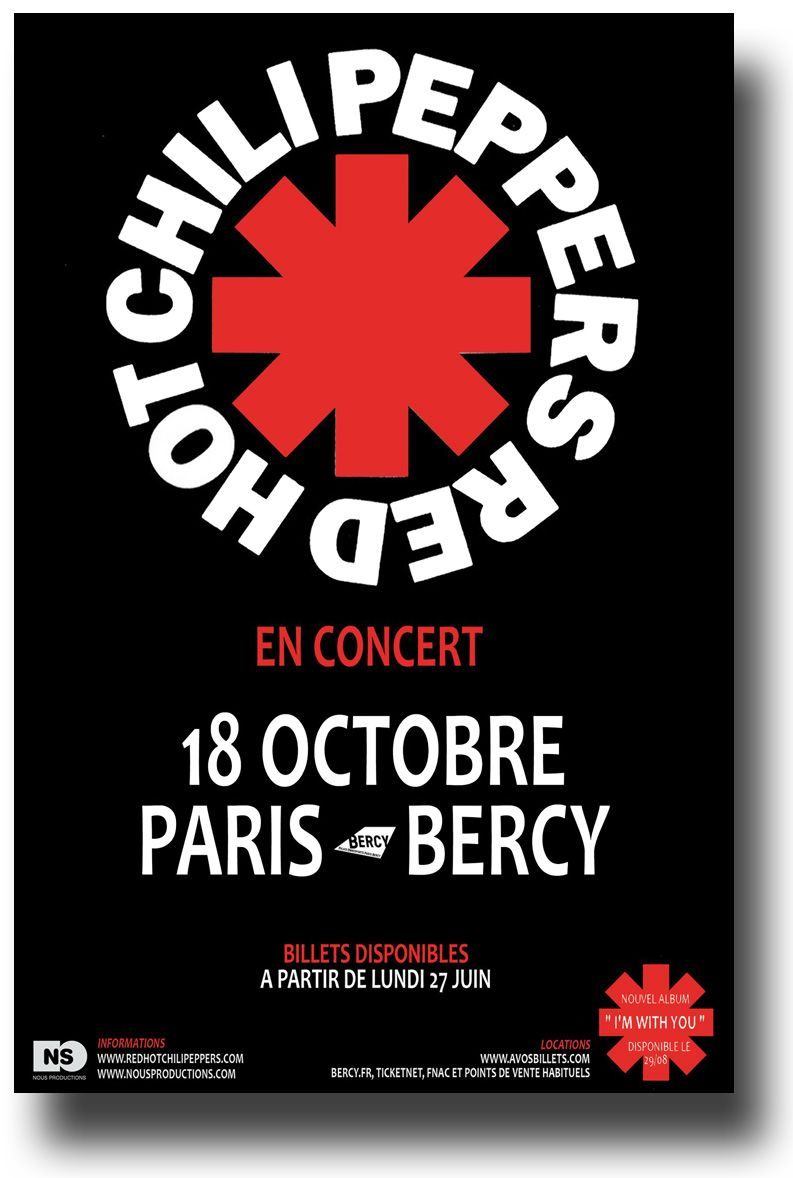 Red Hot Chili Peppers Poster For A Paris Concert Get It Here