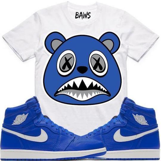 42871fb05bb3be Baws T-Shirt ROYAL BAWS White Sneaker Tees Shirt - Jordan 1 Hyper Royal