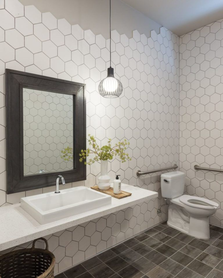 Bathroom With Hexagon Tile Walls Bathroom Wall Tile Hexagon Tile Bathroom White Hexagon Tile Bathroom