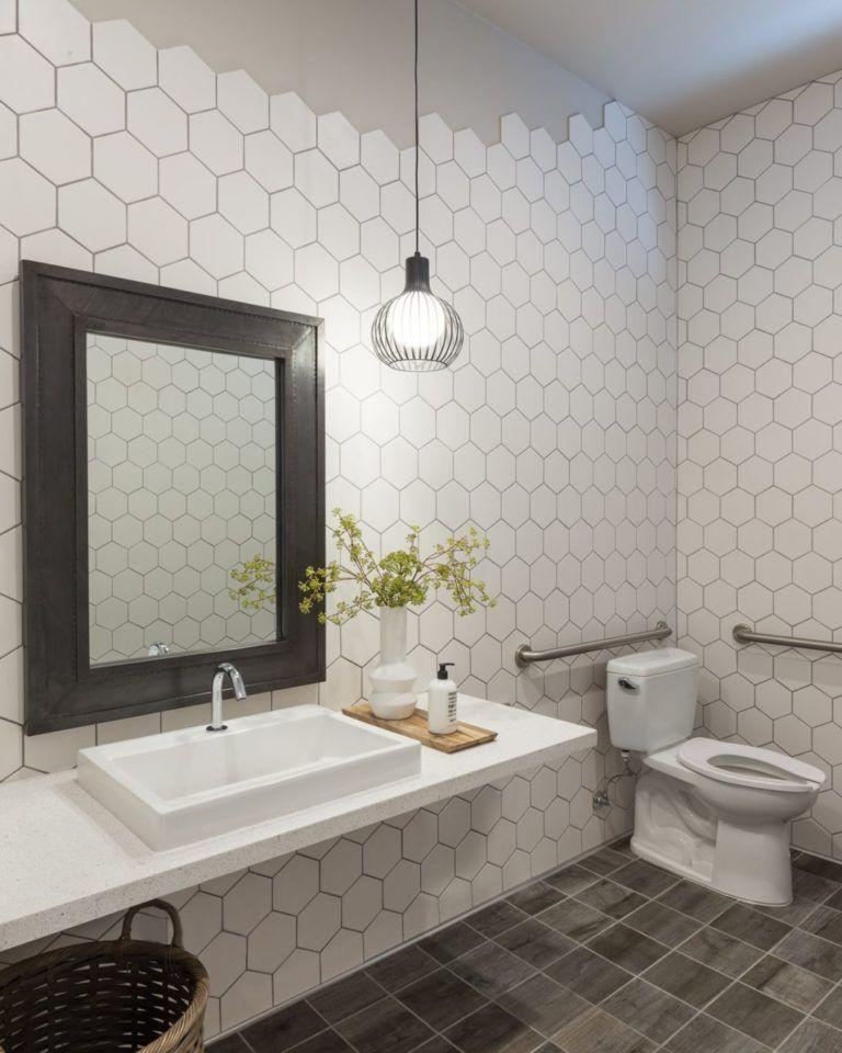 Bathroom With Hexagon Tile Walls Bathroom Wall Tile White