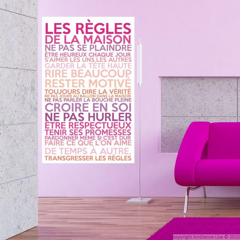 Sticker poster les règles de la maison couleurs girly - stickers ...