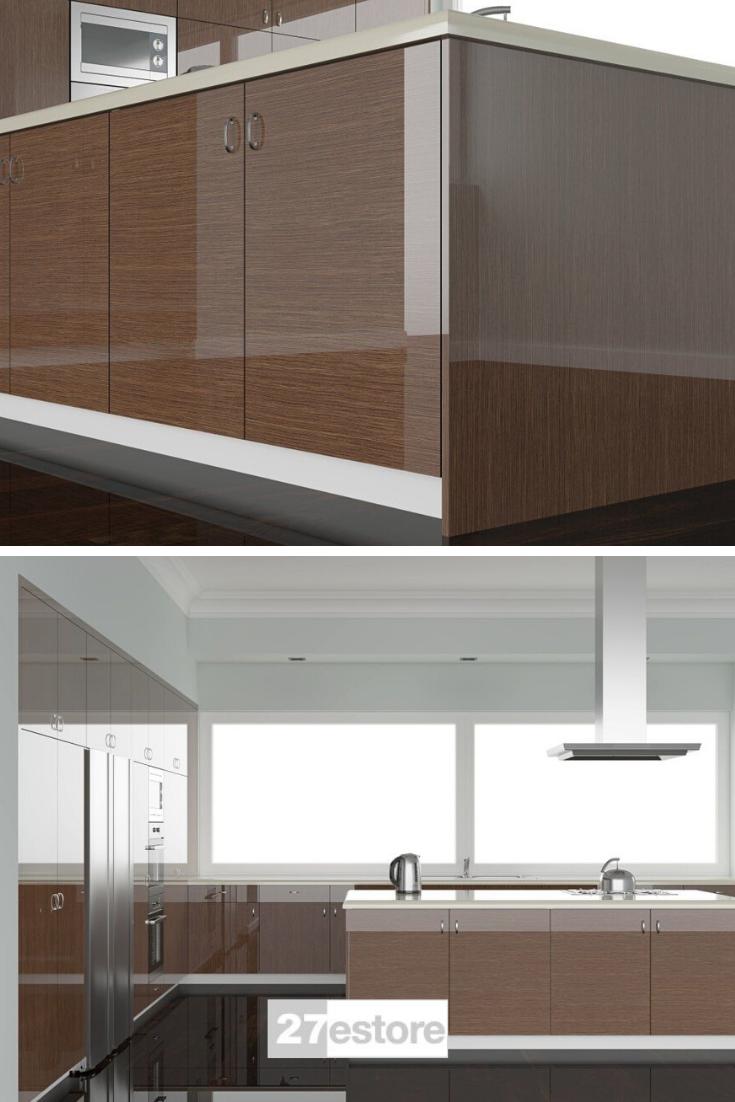 High Gloss Walnut Veneer In 2020 Wood Cabinet Doors Doors Interior Kitchen Cabinet Colors