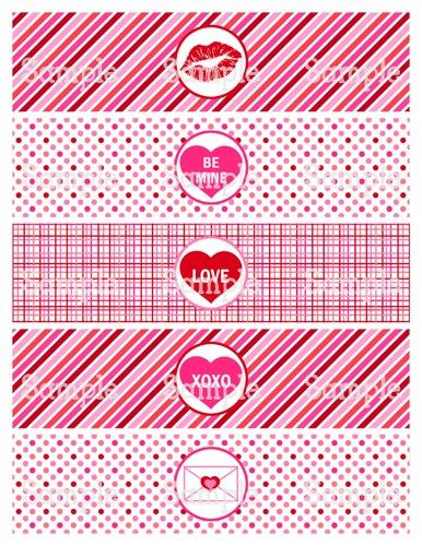 Printable MM Happy ValentineS Day Water Bottle Label Wrappers
