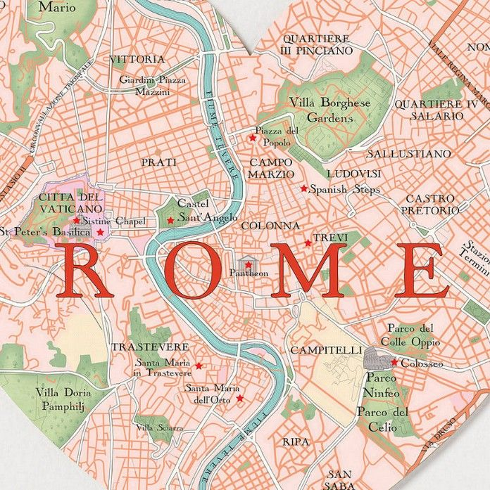 An Detailed Map Of Rome Italy Showing Main Places Streets