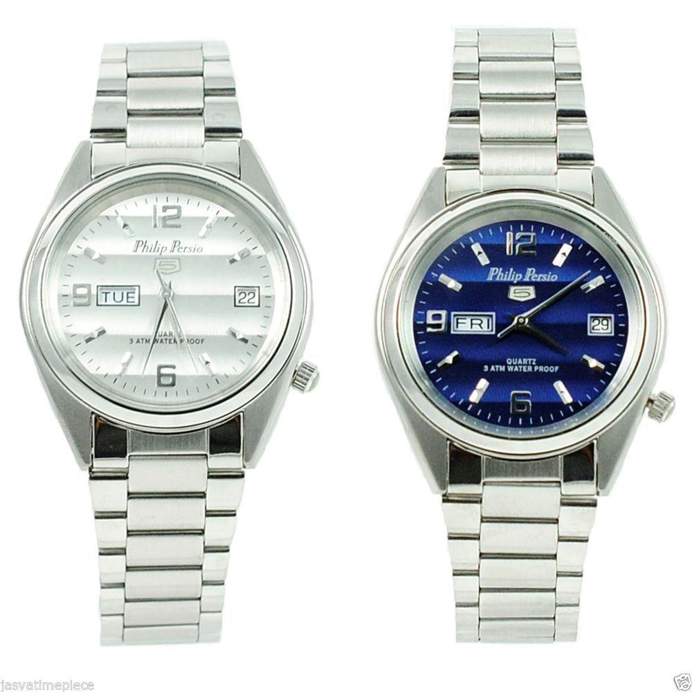 Philip Persio 5 Waterproof Round Men Women Luxury Silver Quartz Day Date Watch Quartz Watches Army Watches