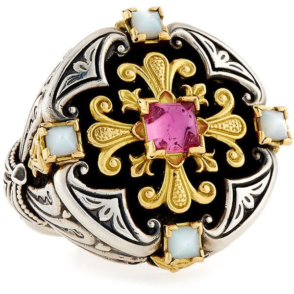 Konstantino Pink Tourmaline & Pink Crystal Quartz Over Sapphire Ring