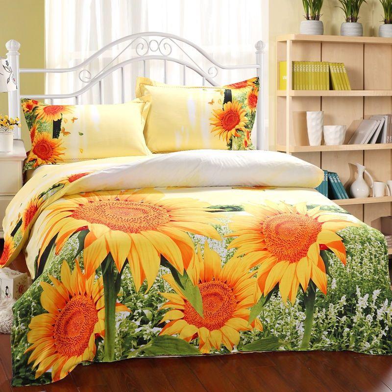 Sunflower Garden Orange And Green Bedding Set