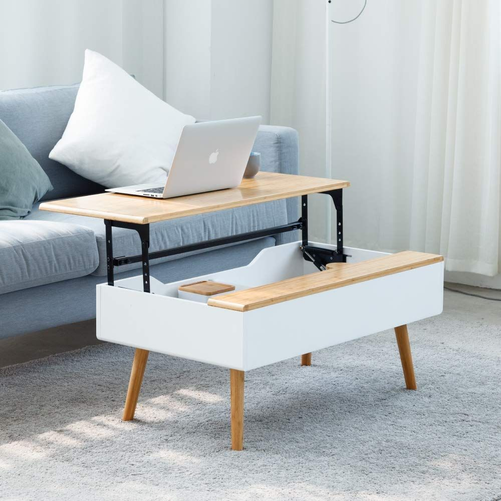 Bamboo Modern White Lift Top Coffee Table Convertible Furniture