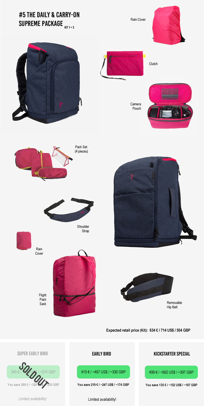 Travel with function and style. Two multifunctional backpacks with one revolution: Maximize space!