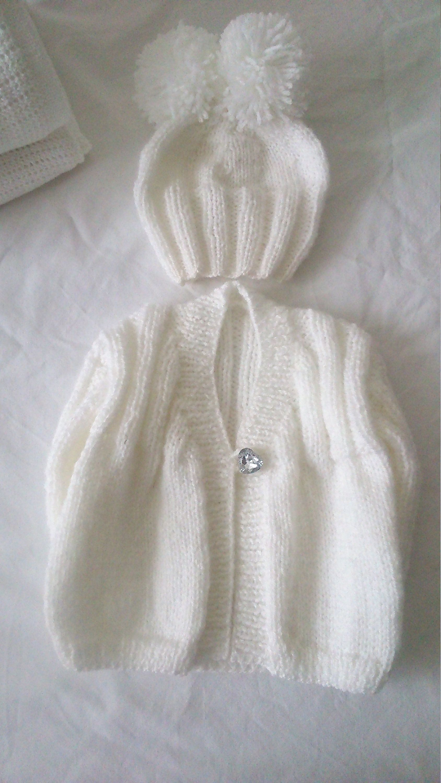 7553817b5d0d White/christening outfit gift set hand knitted/handmade/Premature/Preemie/newborn  baby girl boy/unisex/cardigan/jacket hat/baby shower/prop