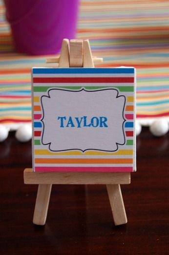 mini easel name place card - Painting with a Twist party anyone?