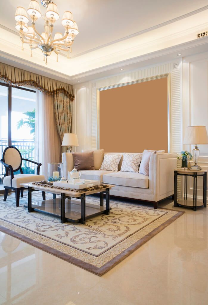 Simple Living Room In Beige With A Marble Floor Livingroom