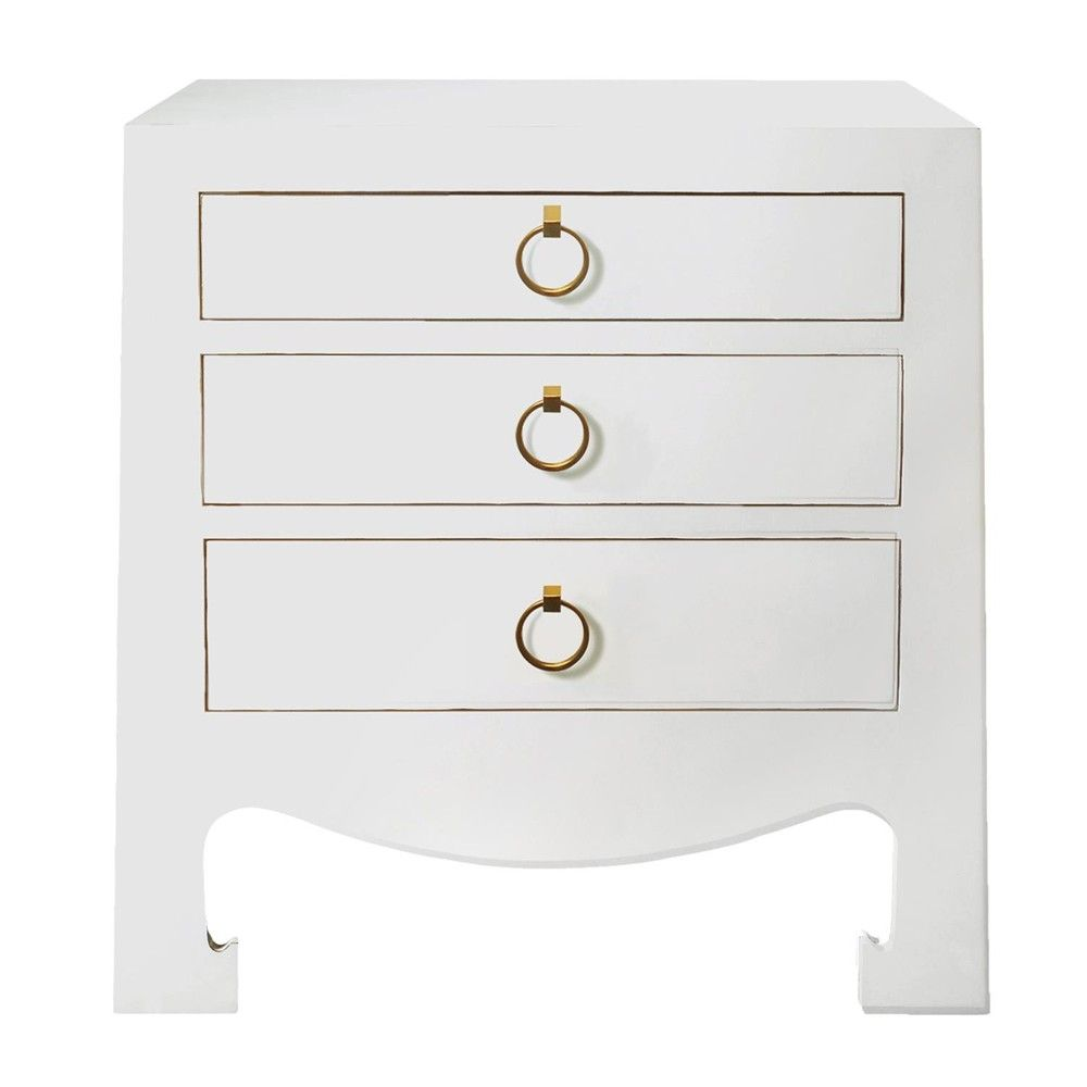 Bungalow 5 Jacqui 3 Drawer Side Table White Bedside Tables Amp Nightstands Bedroom With Images White Bedside Table White Furniture Inspiration White Side Tables